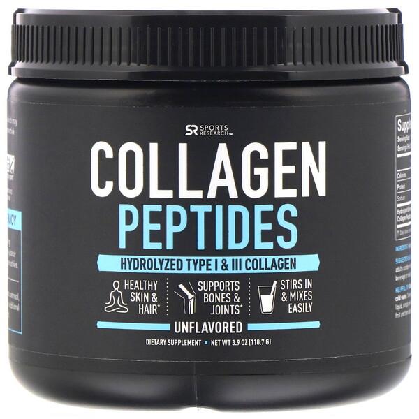 Sports Research, Пептиды коллагена, гидролизованный коллаген типа I и III, без вкусовых добавок, 110,7г (3,9унции)