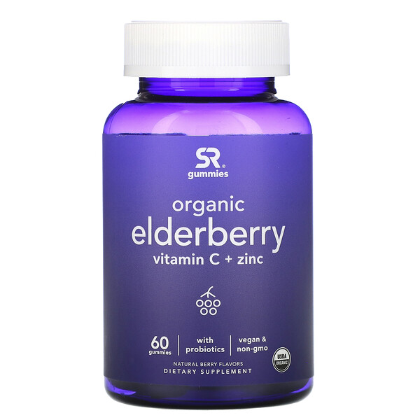 Sports Research, Organic Elderberry, Vitamin C + Zinc, Natural Berry Flavors, 60 Gummies