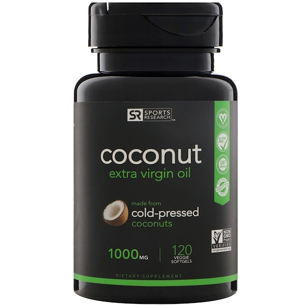 Sports Research, Extra Virgin Coconut Oil, 1,000 mg, 120 Veggie Softgels (Discontinued Item)