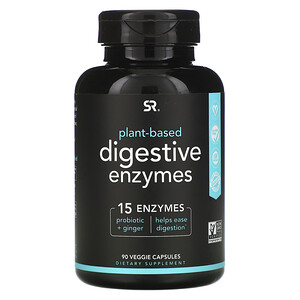 Sports Research, Digestive Enzymes, Plant-Based, 90 Veggie Capsules'