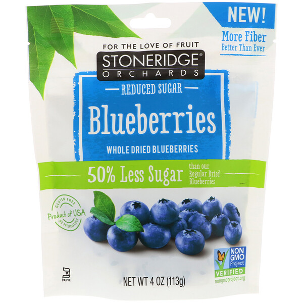 Stoneridge Orchards, Голубика, сушеная цельная голубика, с пониженным содержанием сахара, 113г (4унции)