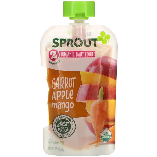 Baby Food, 6 Months & Up, Carrot Apple Mango, 3.5 oz (99 g)