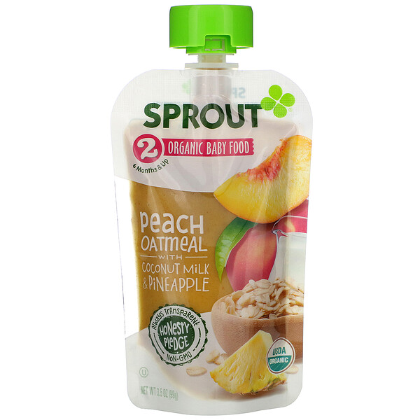 Baby Food, 6 Months & Up, Peach Oatmeal with Coconut Milk & Pineapple, 3.5 oz (99 g)
