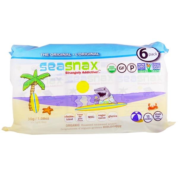 жареная закуска из органических морских водорослей, 6 упаковок по 5 г (0,18 унции) каждая