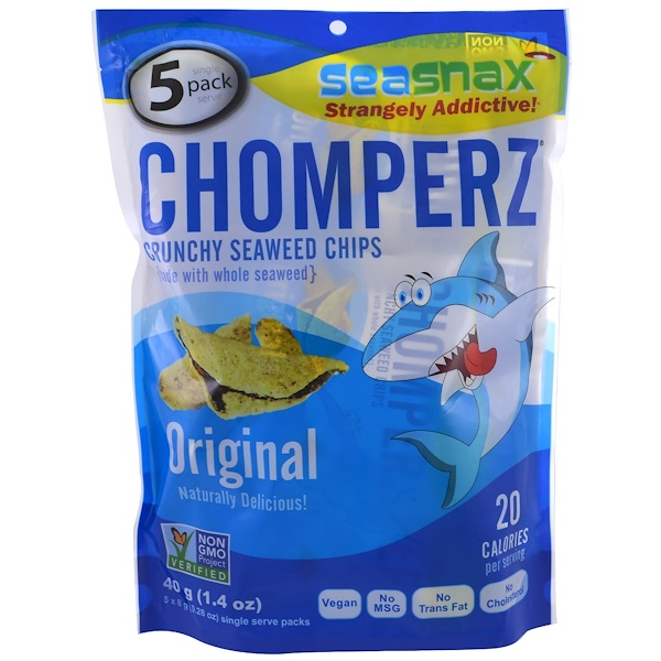 Chomperz, хрустящие чипсы из водорослей, оригинальные, 5 порций в индивидуальной упаковке, 0.28 унций (8 г) каждая