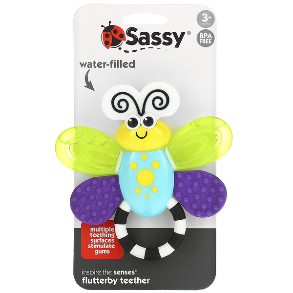 Sassy, Inspire The Senses, Flutterby Teether, 3 + Months, 1 Count