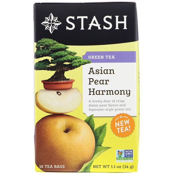 Stash Tea, зеленый чай, гармония китайской груши, 18 чайных пакетиков, 1,1 унц. (34 г)