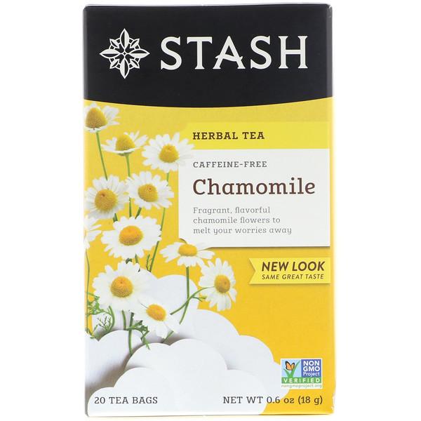 Stash Tea, Herbal Tea, Chamomile, Caffeine Free, 20 Tea Bags, 0.6 oz (18 g) (Discontinued Item)