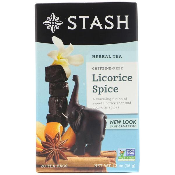 Травяной чай высшего сорта, лакрица и пряности, без кофеина, 20 чайных пакетиков, 1,2 унции (36 г)
