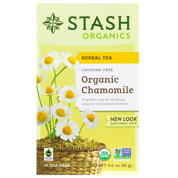 Herbal Tea, Organic Chamomile, Caffeine Free, 18 Tea Bags, 0.6 oz (18 g)