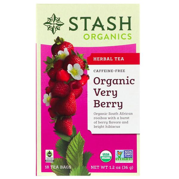 Органический травяной чай, ягодный, без кофеина, 18 чайных пакетиков, 1,2 унции (36 г)