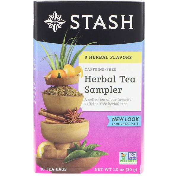 Stash Tea, Образцы травяного чая, без кофеина, 9 вкусов, 18 чайных пакетиков, 1,0 унция (30 г) (Discontinued Item)