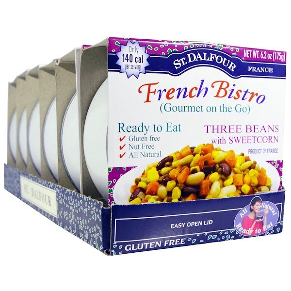 St. Dalfour, Французское бистро (Gourmet on the Go), три вида фасоли и сладкая кукуруза, 6 упаковок, 6,2 унции (175 г) каждая (Discontinued Item)