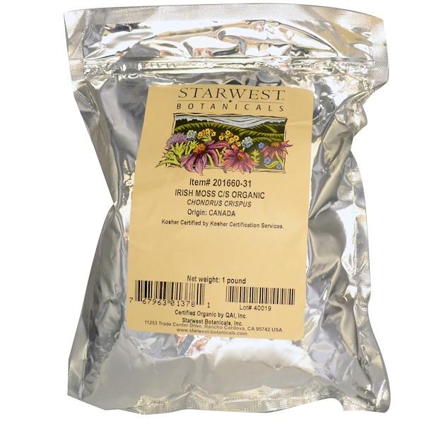 Starwest Botanicals, Органический ирландский мох рубленый и просеянный, 16 унций (1 фунт) (Discontinued Item)