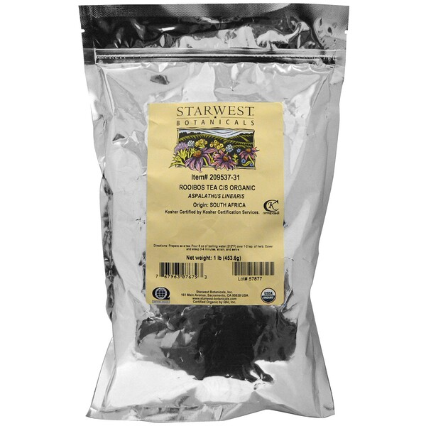 Starwest Botanicals, Органический чай ройбуш, измельченный и просеянный, 1 фунт (453,6 г)