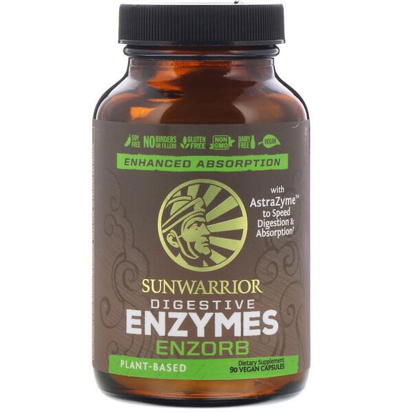 Sunwarrior, Enzorb, ферменты для пищеварения, 90веганских капсул