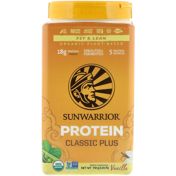 Протеин Classic Plus, на органической растительной основе, ваниль, 750 г (1,65 фунта)