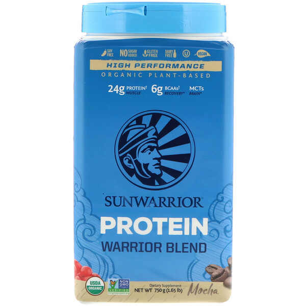 Warrior Blend Protein, органический растительный продукт, мокка, 1,65 фунта (750 г)
