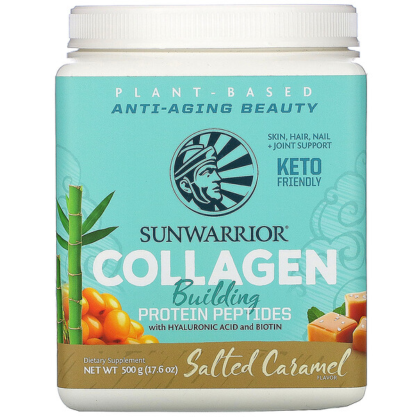 Sunwarrior, Collagen Building Protein Peptides with Hyaluronic Acid and Biotin, Salted Caramel, 17.6 oz (500 g)