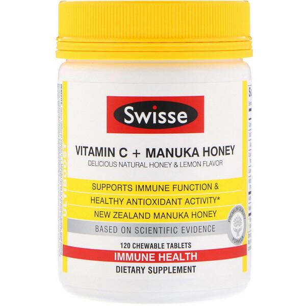 Swisse, Ultiboost, витаминC и мед манука, натуральный вкус меда и лимона, 120жевательных таблеток