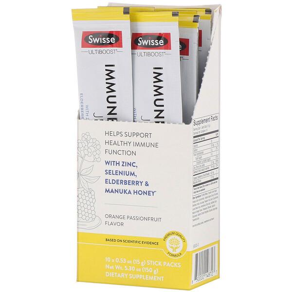 Ultiboost, желе для укрепления иммунитета, со вкусом апельсина и маракуйи, 10стиков, 15г (0,53 унции) в каждом