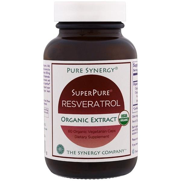 Чистая синергия, органический экстракт органического ультрачистого ресвератрола, 60 органических вегетарианских капсул