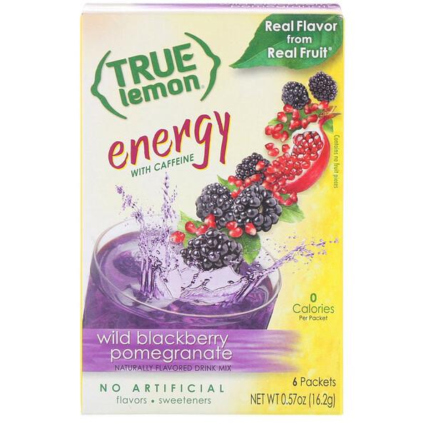 True Citrus, True Lemon, Энергия, Дикая ежевика и гранат, 6 пакетов, 0,57 унц. (16,2 г)