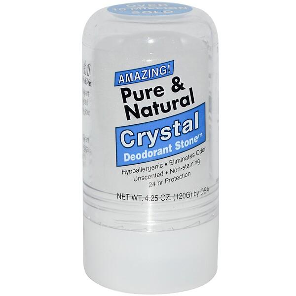 Thai Deodorant Stone, Читый и натуральный дезодорант из кристаллических минеральных солей Deodorant Stone от Crystal, 4,25 унции (120 г)