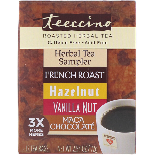 Roasted Herbal Tea Sampler, 4 Herbal Flavors, Caffeine Free, 12 Tea Bags, 2.54 oz (72 g)