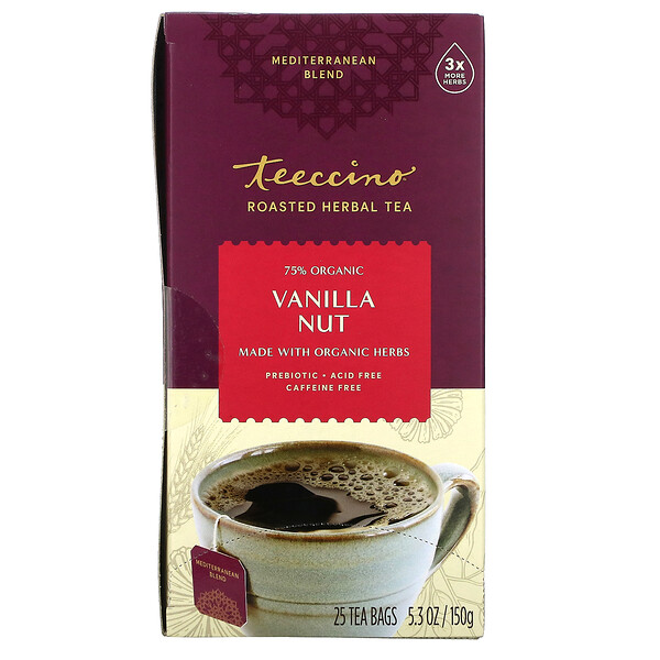 Teeccino, Roasted Herbal Tea, Vanilla Nut, Caffeine Free, 25 Tea Bags, 5.3 oz (150 g)