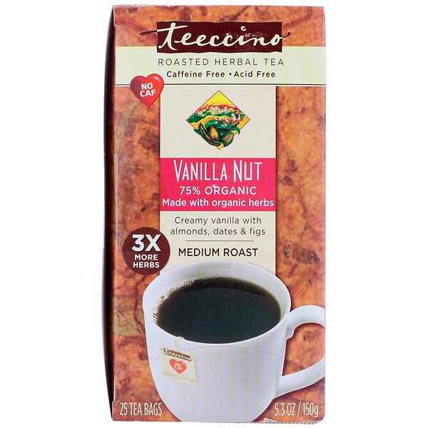 Травяной кофе, средняя обжарка, ваниль и орехи, без кофеина, 25 пакетиков, 5,3 унции (150 г)