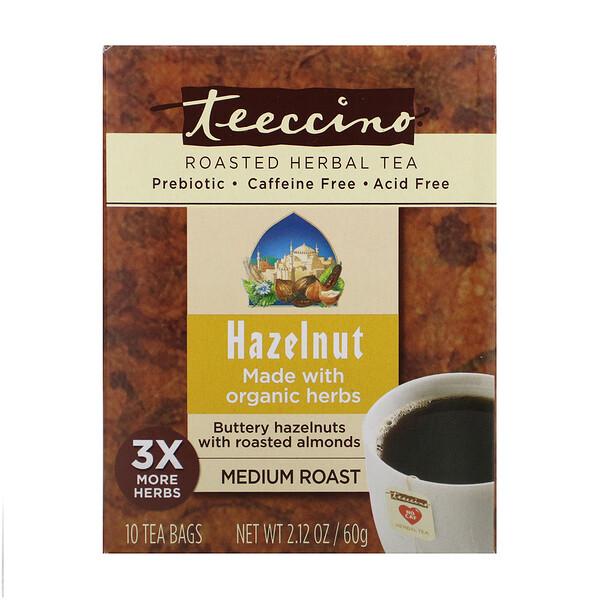 Обжаренный травяной чай, средняя обжарка, фундук, не содержит кофеина, 10 чайных пакетиков, 60 г