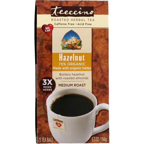 Обжаренный травяной чай со вкусом ванили, средняя обжарка, фундук, без кофеина, 25 чайных пакетиков, 150 г