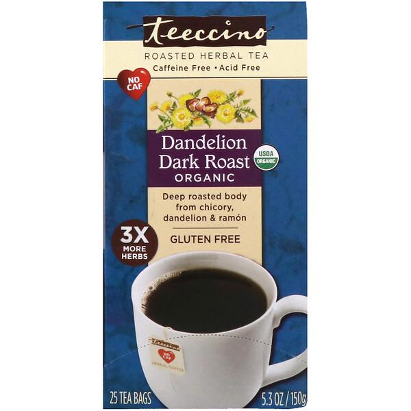 Органический жареный травяной чай, одуванчик сильной обжарки, без кофеина, 25 чайных пакетиков, 150 г