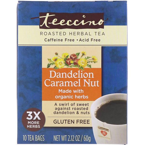 Teeccino, Roasted Herbal Tea, Dandelion Caramel Nut, Caffeine Free, 10 Tea Bags, 2.12 oz (60 g)
