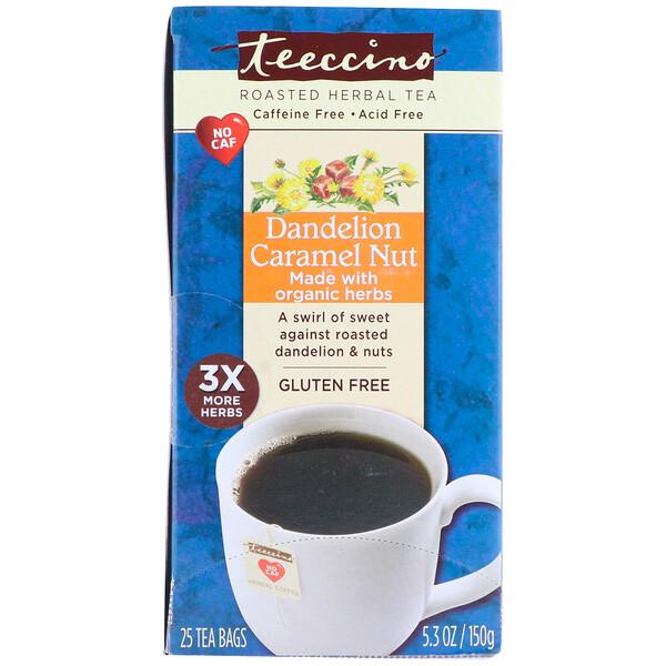 Травяной чай, одуванчик, карамель, орех, без кофеина, 25 чайных пакетиков, 5,3 унц. (50 г)