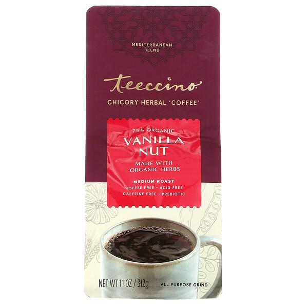 Teeccino, травяной кофе из цикория, средней прожарки, без кофеина, ваниль и орех, 312г (11унций)