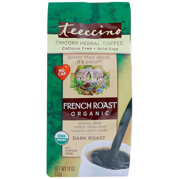 Chicory Herbal Coffee, Organic French Roast, Dark Roast, Caffeine Free, 11 oz (312 g)