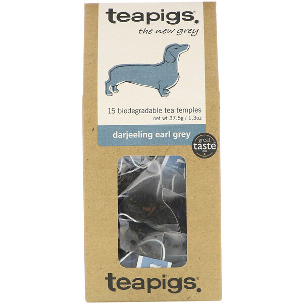 TeaPigs, The New Grey, Darjeeling Earl Grey, 15 Tea Temples, 1.3 oz (37.5 g) (Discontinued Item)