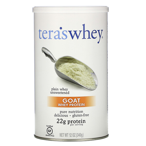 Козий сывороточный протеин, простая несладкая сыворотка, 12 унций (340 г)