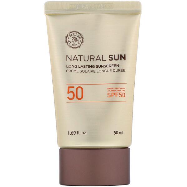 The Face Shop, Natural Sun, солнцезащитный крем длительного действия, фактор защиты от солнца 50, 1,69 ж. унц. (50 мл) (Discontinued Item)