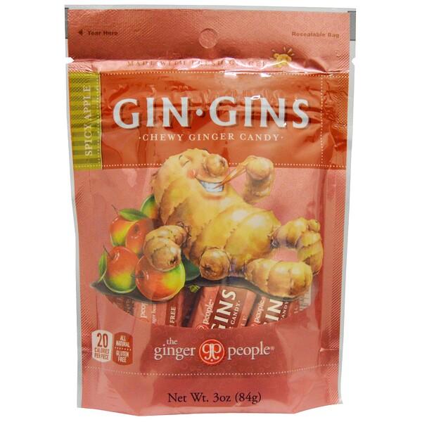 Gin·Gins, жевательное имбирное печенье, пряное яблоко, 3 унции (84 г)