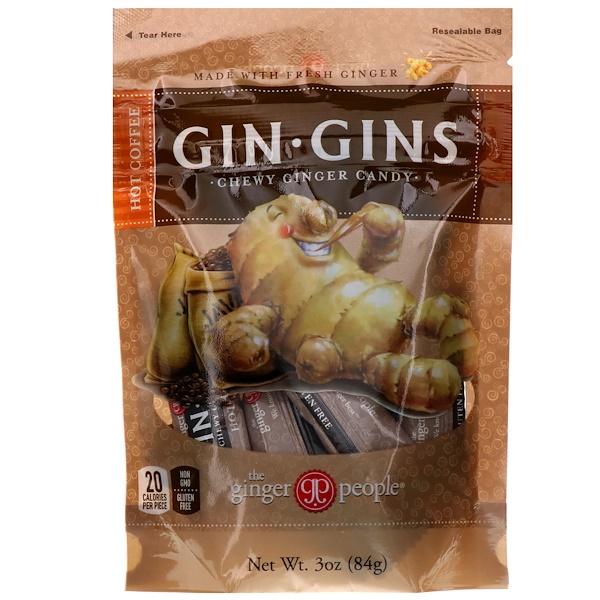 Gin Gins, жевательное имбирное печенье, горячий кофе, 84 г