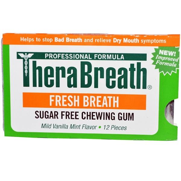 TheraBreath, Свежее дыхание, Жевательная резинка без сахара со вкусом мягкой ванили и мяты, 12 штук