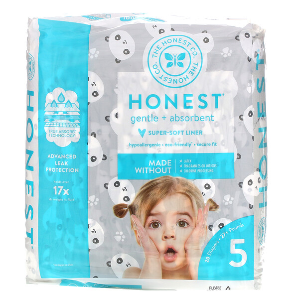 Honest Diapers, Size 5, 27+ Pounds, Pandas, 20 Diapers