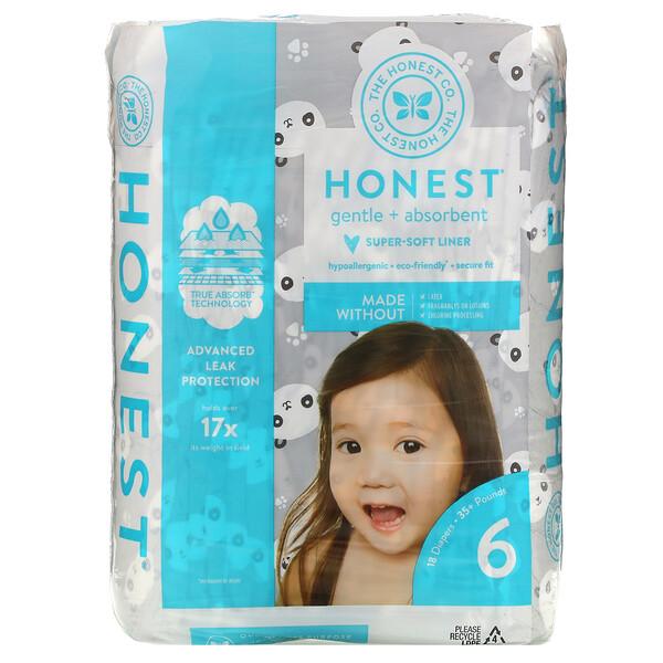 Honest Diapers, Size 6, 35+ Pounds, Pandas, 18 Diapers