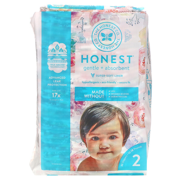 Honest Diapers Size 2, 12-18 Pounds, Rose Blossom, 32 Diapers