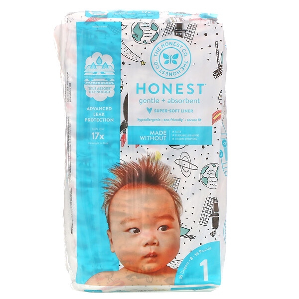Honest Diapers, Size 1, 8-14 Pounds, Space Travel, 35 Diapers