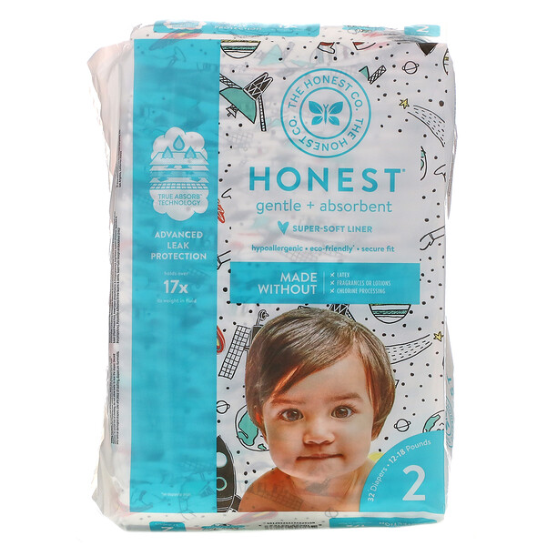 Honest Diapers, Super-Soft Liner, Size 2, Space Travel, 12-18 Pounds, 32 Diapers