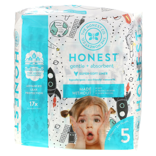 Honest Diapers, Size 5,  27+ Pounds, Space Travel, 20 Diapers